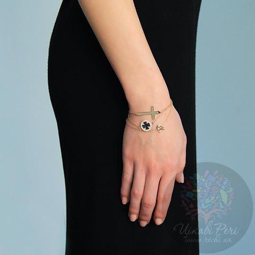 Браслет Jewels с напылением золота на тонкой цепочке с крестиком, фото