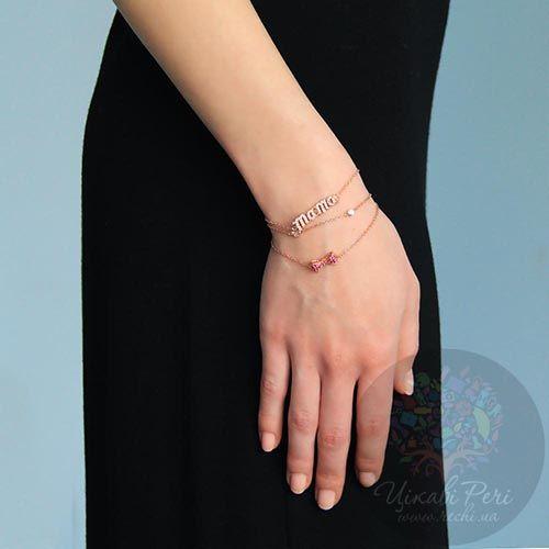 Браслет Jewels Mama на тонкой цепочке с напылением розового золота и цирконами, фото