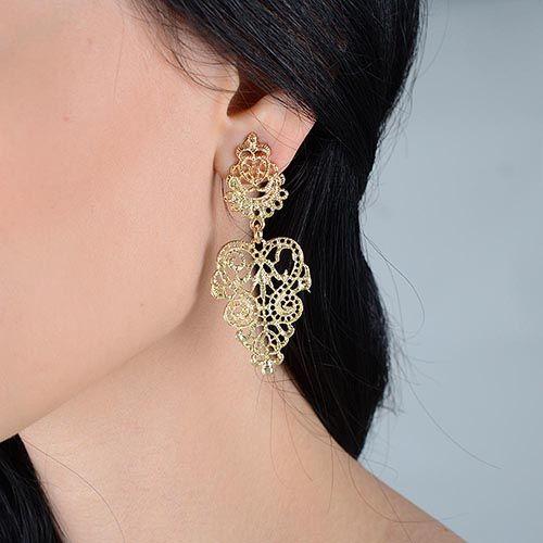 Резные серьги-гвоздики Jewels золотого цвета, фото
