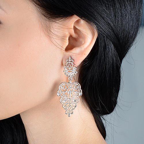 Длинные серьги-гвоздики Jewels цвета платины, фото
