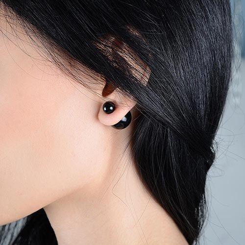 Серьги-пусеты Jewels черного цвета глянцевые, фото