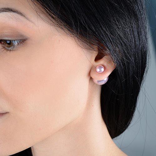 Серьги-пусеты Jewels нежно-розовые глянцевые, фото