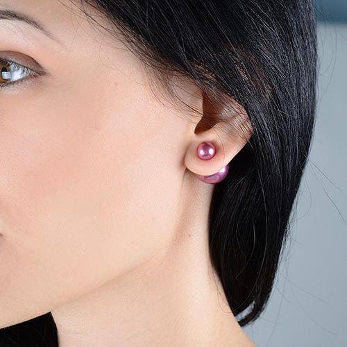 Ассиметричные серьги Jewels розово-сиреневого цвета, фото