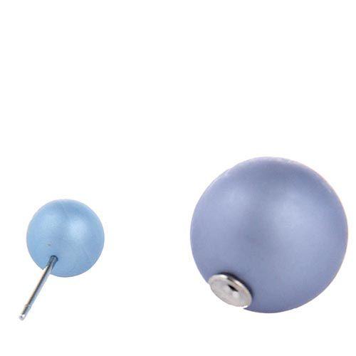 Серьги пусеты Jewels матовые серо-голубого цвета, фото