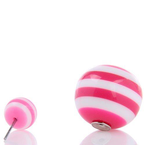 Серьги пусеты Jewels полосатые розовый с белым, фото