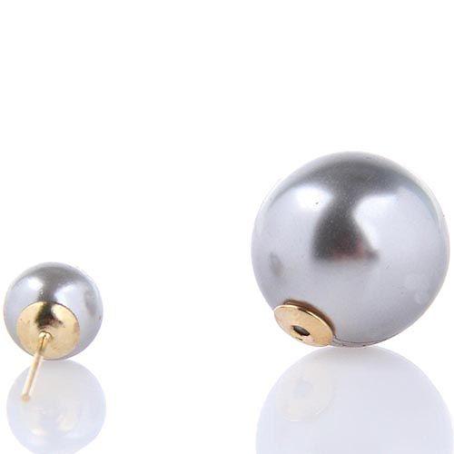 Серьги пусеты Jewels перламутровые серого цвета, фото