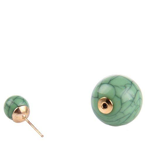 Серьги-пусеты Jewels окраса черепахи в зеленых тонах, фото