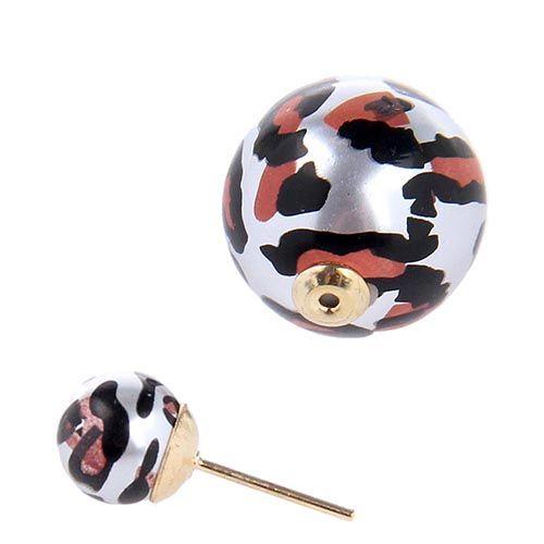 Серьги пусеты Jewels с леопардовым принтом на серебристой бусине, фото