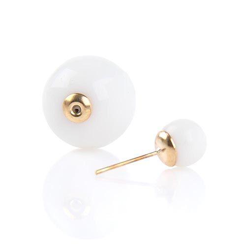 Серьги пусеты Jewels белого цвета глянцевые, фото