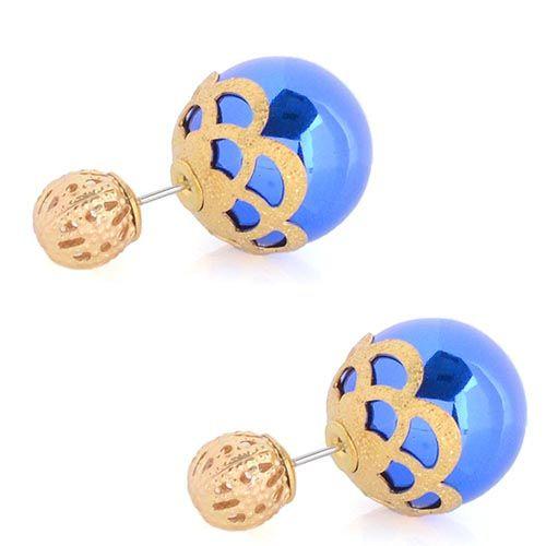 Синие асимметричные серьги-гвоздики с золотистым кружевом, фото