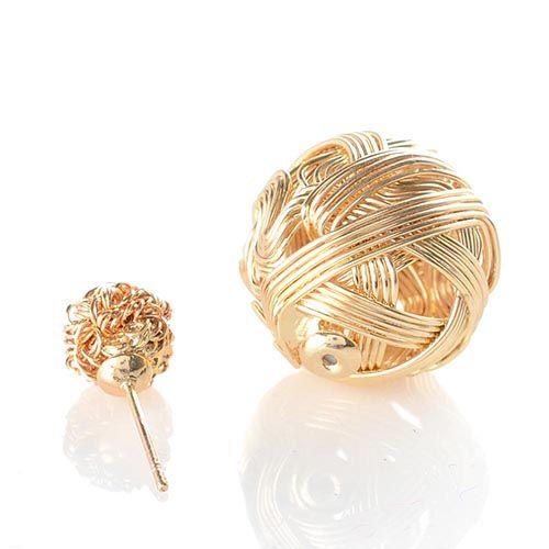 Асимметричные серьги-гвоздики позолоченные с витыми сферами, фото