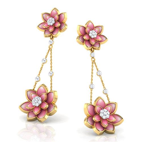 Серьги из желтого золота Perfecto Jewellery с бриллиантами и цветной эмалью je03248-ygp900, фото