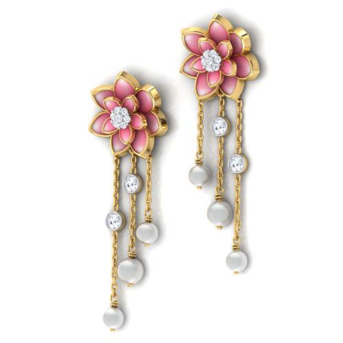 Золотые серьги-пусеты с подвесками Perfecto Jewellery с жемчугом и бриллиантами je03249-ygp9pl, фото