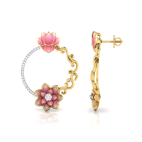 Золотые серьги Perfecto Jewellery в виде колец с цветком лотоса инкрустированные бриллиантами je03250-ygp900, фото