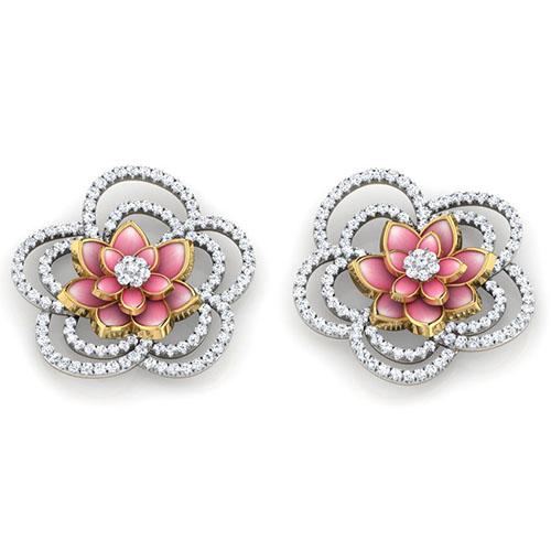 Золотые серьги-пусеты Perfecto Jewellery с бриллиантами je03255-ygp900, фото