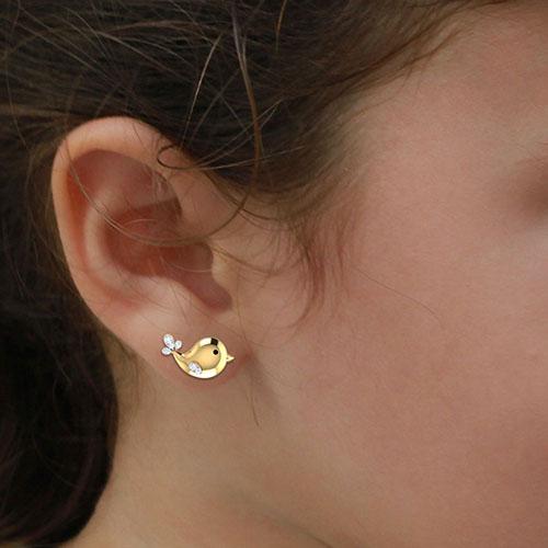 Золотые серьги Perfecto Jewellery Kids Collection Птички с бриллиантами je03513-ygp9by, фото