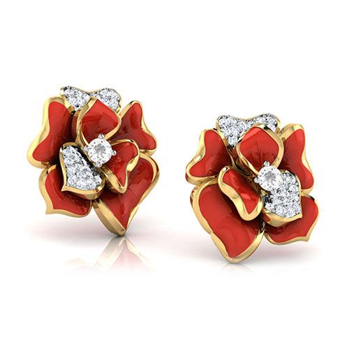 Золотые серьги-пусеты Perfecto Jewellery с бриллиантами и топазами je03606-ygp9rp, фото