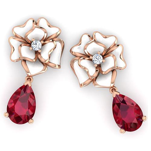 Золотые серьги Perfecto Jewellery с бриллиантом и подвеской с рубином je03608-rgp9wp, фото