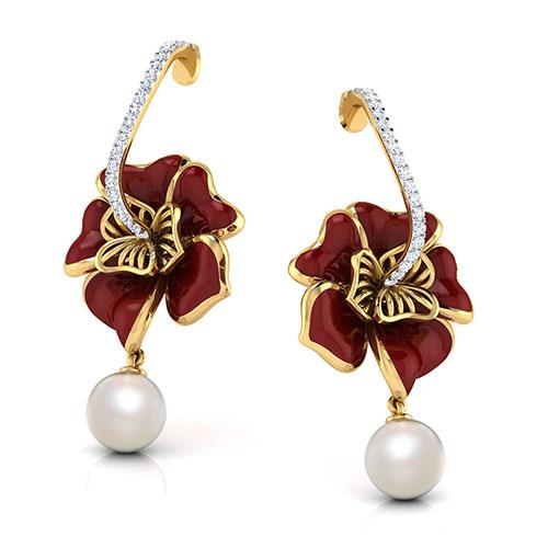 Серьги-пусеты из желтого золота Perfecto Jewellery с жемчугом и бриллиантами je03609-ygp9np, фото