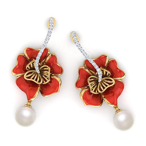 Золотые серьги-пусеты Perfecto Jewellery с бриллиантами и жемчугом je03609-ygp9rp, фото