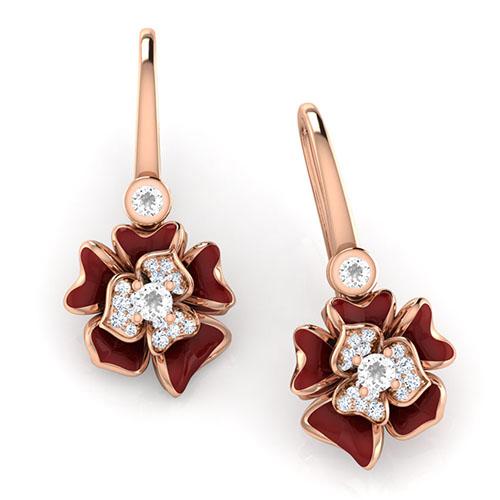 Золотые серьги Perfecto Jewellery с топазами и бриллиантами je03610-rgp9np, фото