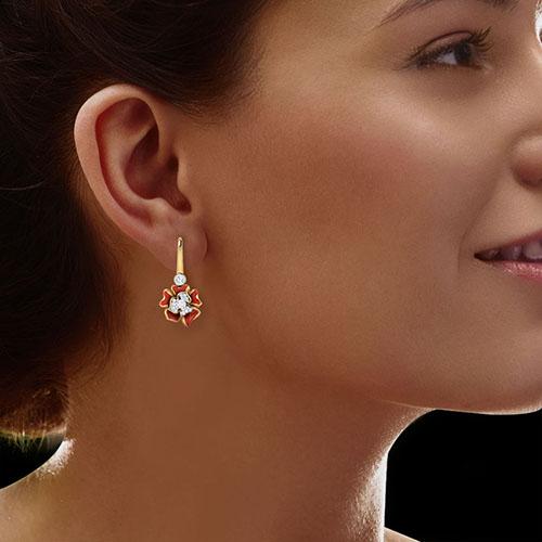 Серьги Perfecto Jewellery с бриллиантами и топазами je03610-ygp9rp, фото