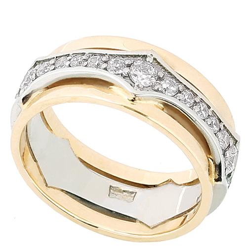 Пара обручальных колец из лимонного и белого золота Kiev Jewelry k0060-1 с фианитами, фото