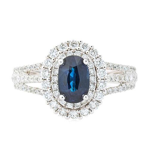 Кольцо Оникс с сапфиром и бриллиантовой россыпью, фото