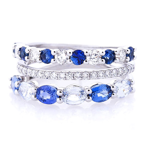 Трехрядное кольцо Оникс с бриллиантами и сапфирами, фото