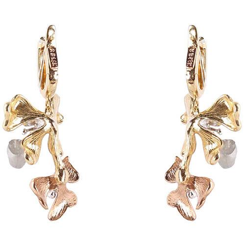 Золотые серьги-подвески Roberto Bravo Kareena с цветами маттиолы и бриллиантами, фото