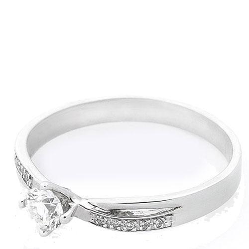 Тонкое кольцо из белого золота с бриллиантами, фото