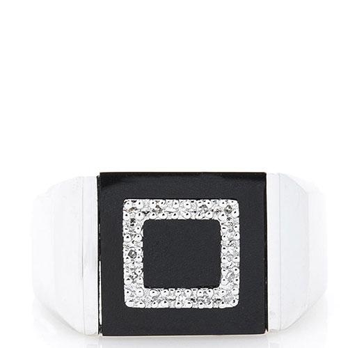 Мужская печатка Оникс с бриллиантами и черным ониксом, фото