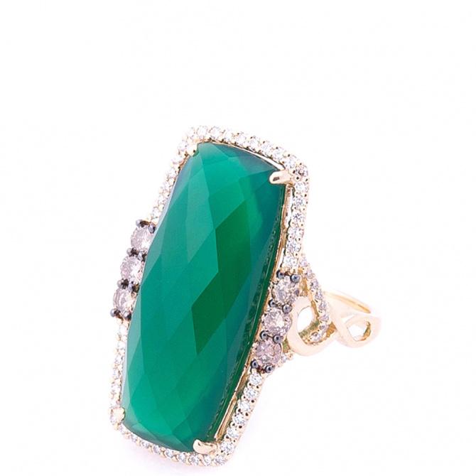 Коктейльное кольцо Оникс с агатом и бриллиантами, фото