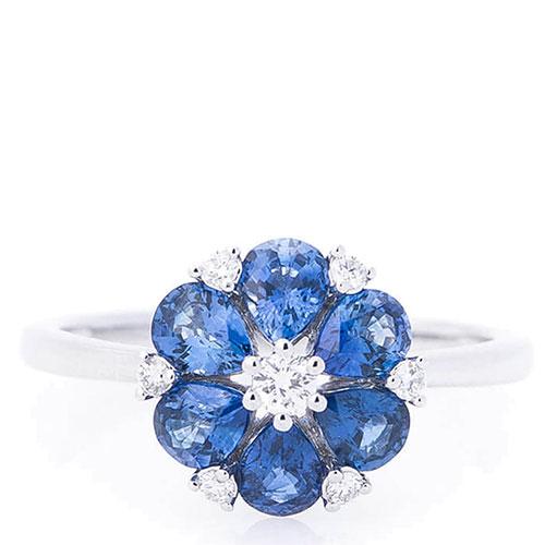 Кольцо женское Оникс Цветок в камнях, фото