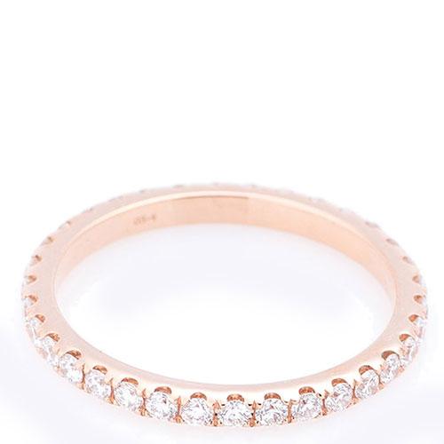 Кольцо тонкое с белыми бриллиантами, фото