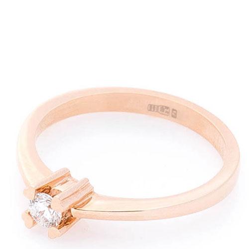 Кольцо с бриллиантом Оникс из красного золота, фото