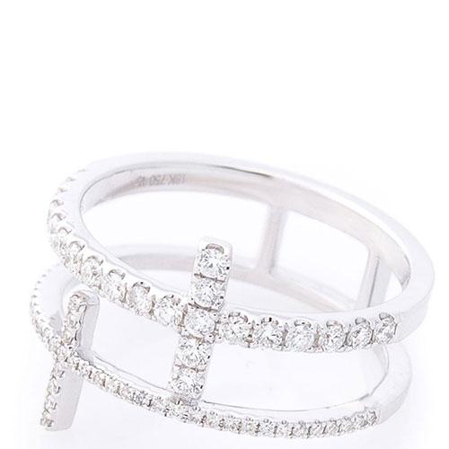 Кольцо двойное Оникс в белых бриллиантах, фото