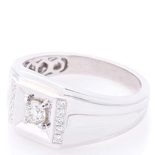 Мужской перстень Оникс с бриллиантами, фото