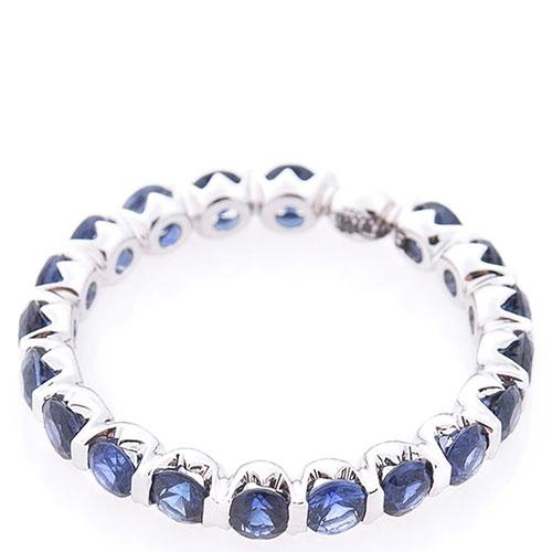Женское кольцо Оникс с сапфирами, фото