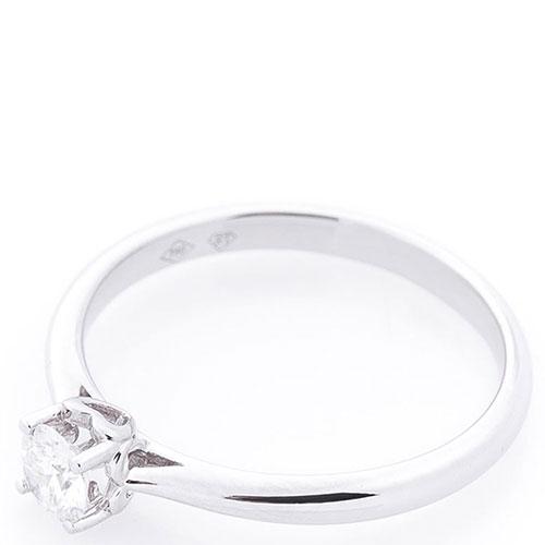Кольцо из белого золота с бриллиантом белого цвета, фото