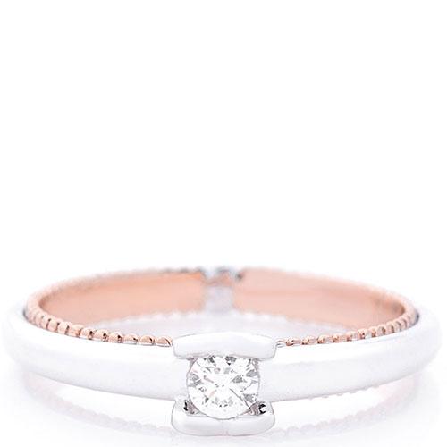 Помолвочное кольцо Оникс из белого и красного золота, фото
