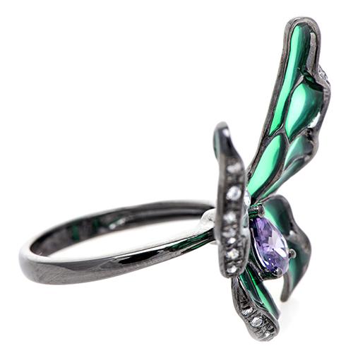 Кольцо 935 by Roberto Bravo с бабочкой зеленого цвета, фото