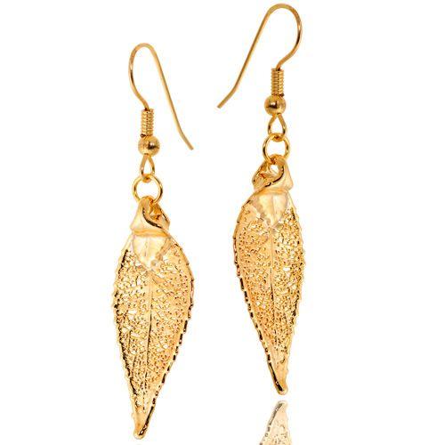 Серьги Ester Bijoux Лист черешни в золоте, фото