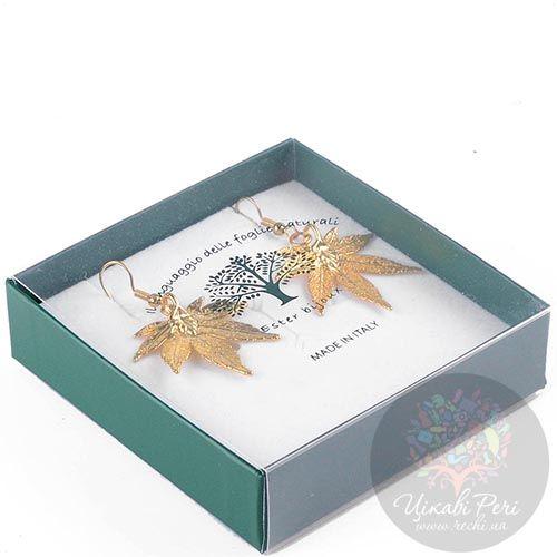 Серьги Ester Bijoux Лист японского клена в золоте, фото