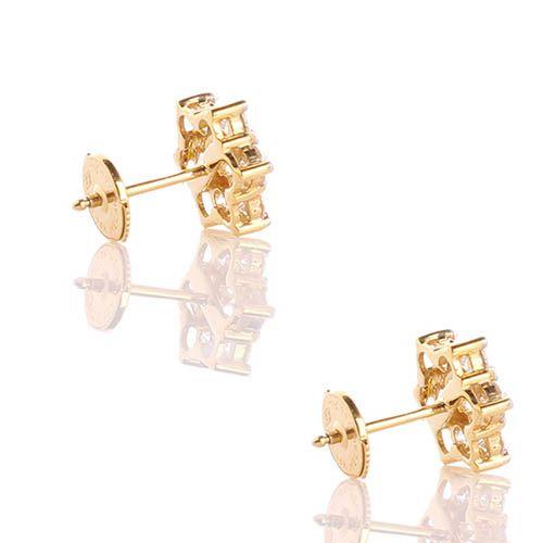 Серьги-гвоздики в виде маленькиз звездочек  из белого золота с бриллиантами, фото