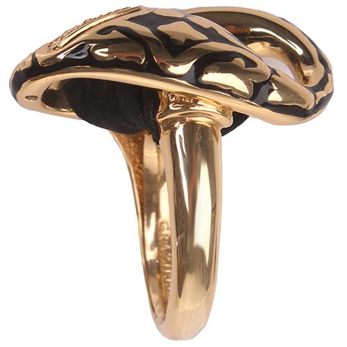 Позолоченное кольцо Graziella с черной шелковой лентой, фото