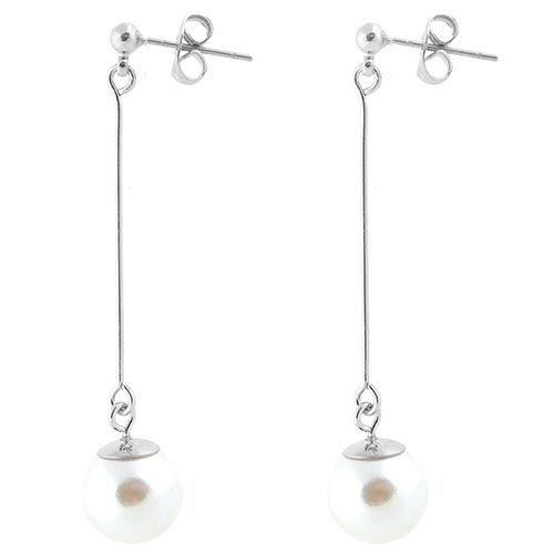 Длинные серьги-пусеты Jewels с перламутровой бусиной в серебре, фото