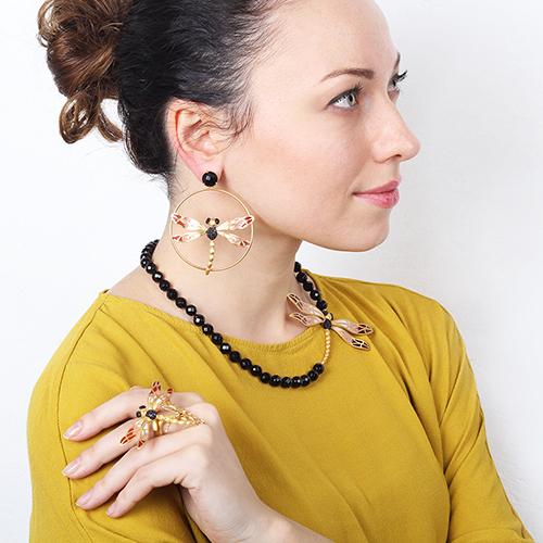 Серьги Misis Lillybeth со стрекозой красного цвета, фото