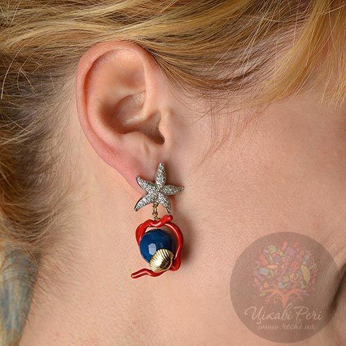 Серьги Misis Brasil с синими агатами и красной эмалью, фото