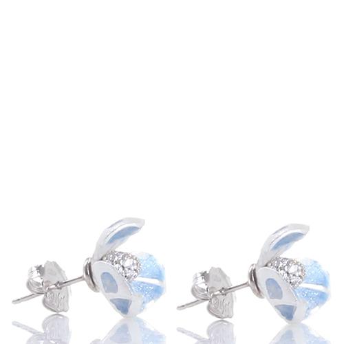 Серьги-гвоздики Misis Gemina в форме цветка ириса голубого цвета, фото